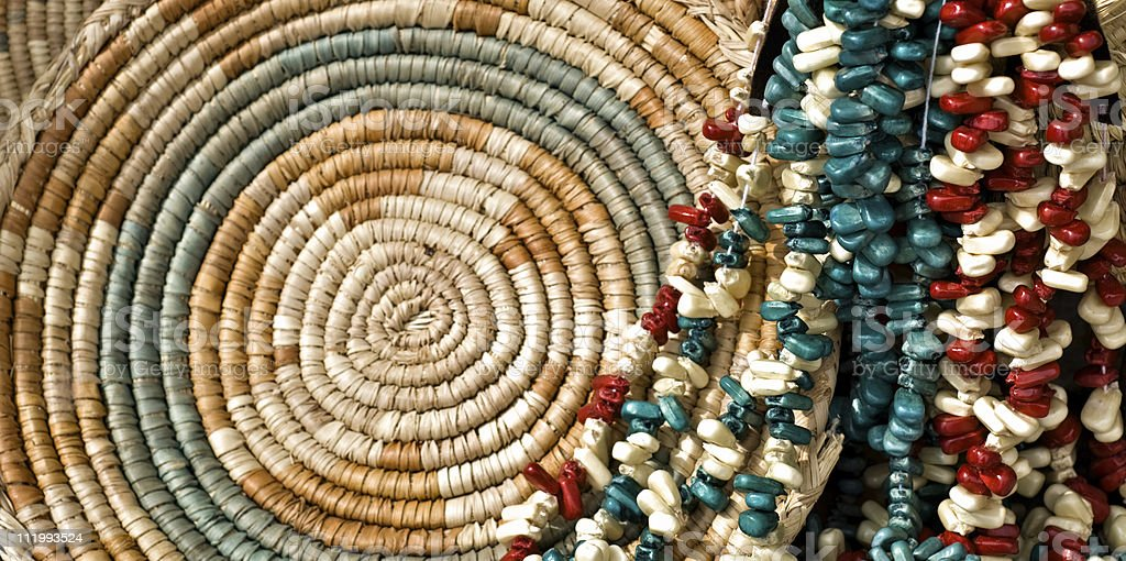 Indian Corn Beads and Basket stock photo
