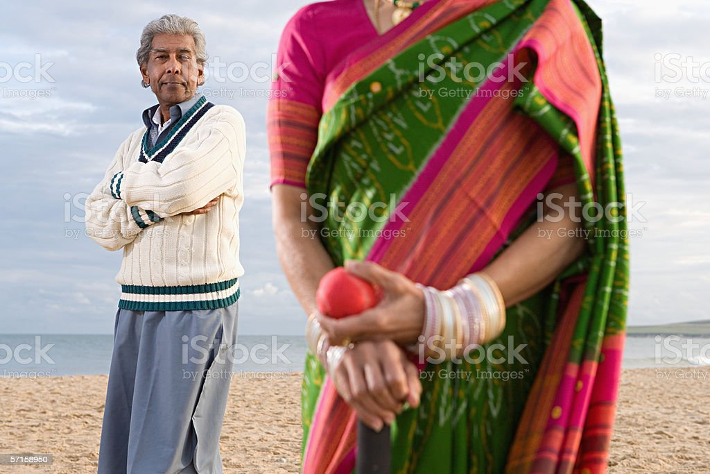 Indian couple on the beach royalty-free stock photo