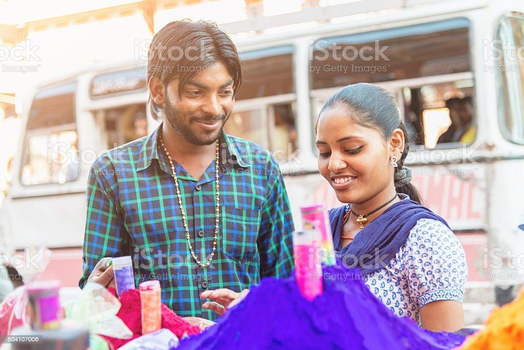 Indian Couple Shopping Together Johari Bazaar Jaipur stock photo
