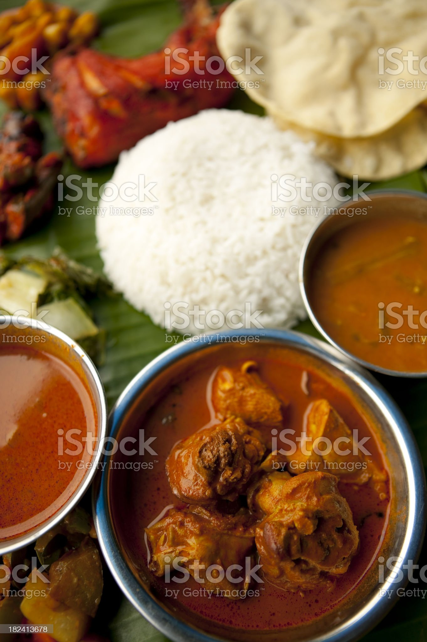 indian cuisine chicken curry banana leaf meal royalty-free stock photo