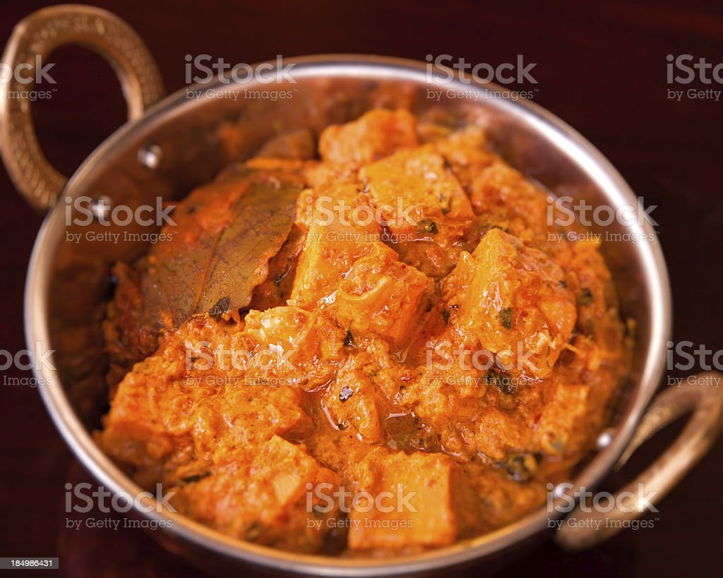 Indian cuisine paneer in silver dish with selective focus stock photo