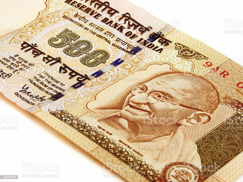 Indian currency 500 ruppes on white background stock photo