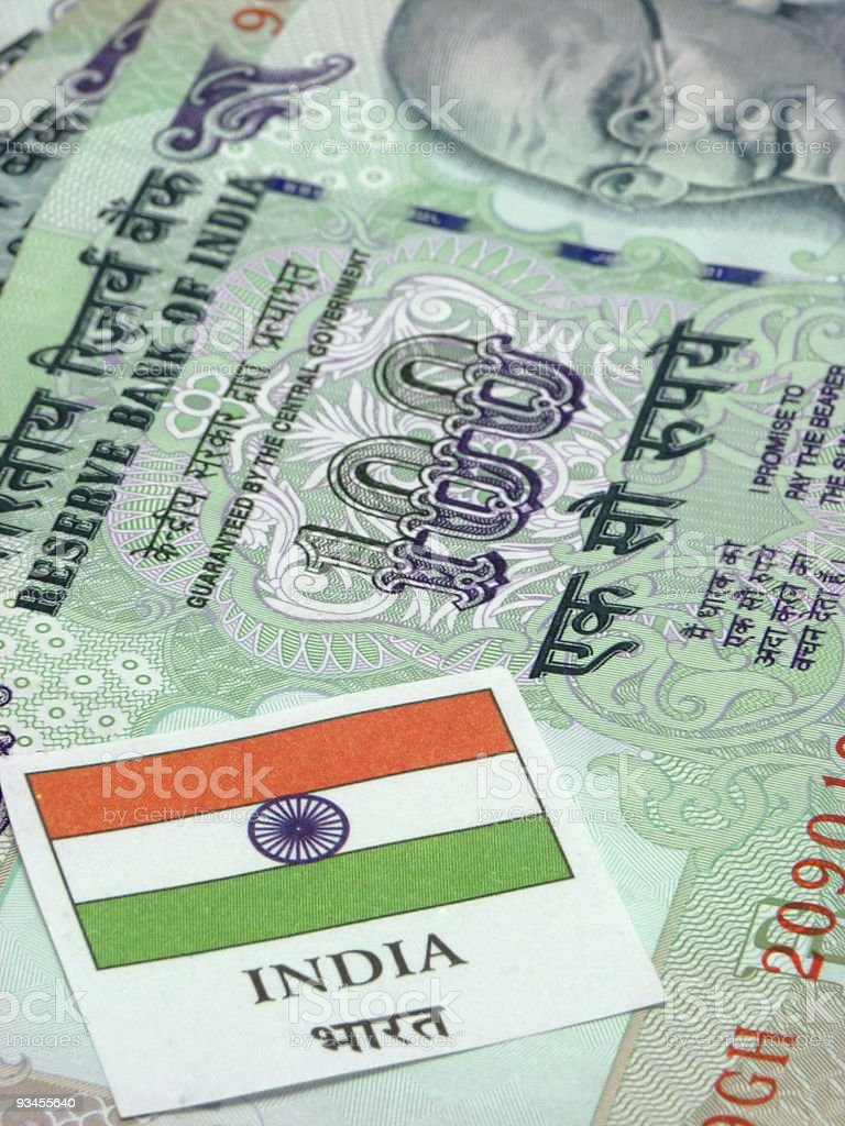 Indian Currency & Flag stock photo