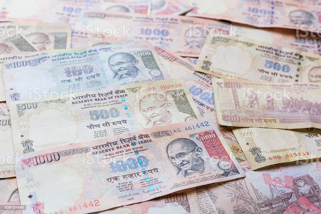 Indian Currency Rupee bank notes stock photo