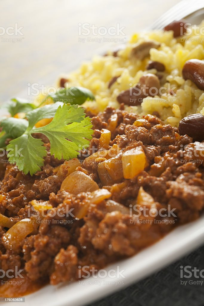 Indian Curry Beef Keema Meal Close-up royalty-free stock photo