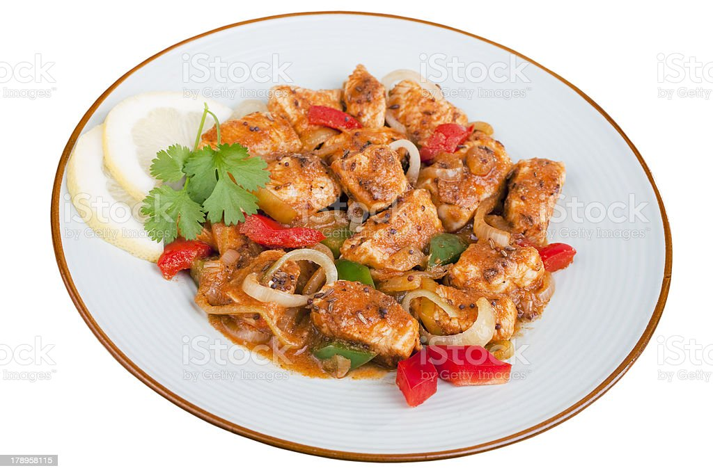 Indian Curry Meal Food Cuisine Meat Chicken Jalfrezi stock photo