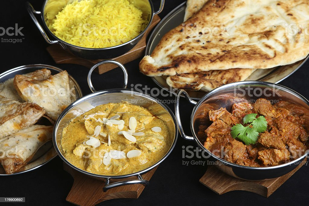 Indian Curry Meal Selection stock photo