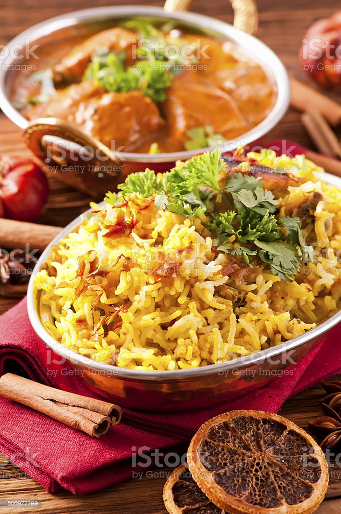 Indian Curry with Saffron Rice stock photo