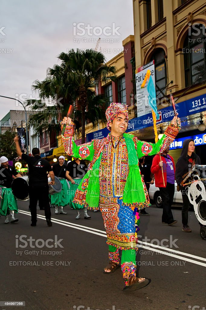 Indian dancers at a multicultural festival in Sydney stock photo