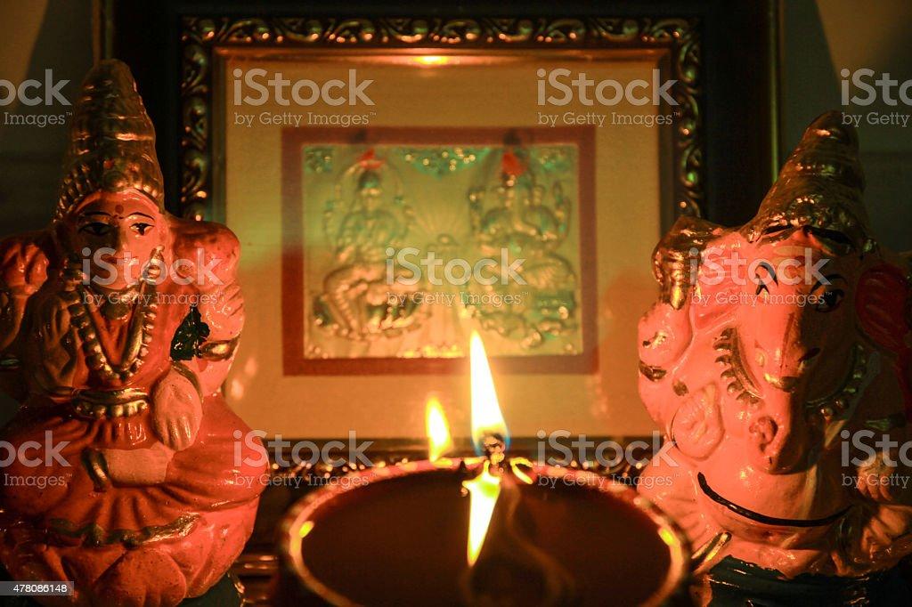 Indian Deities_Lakshmi Ganesha stock photo