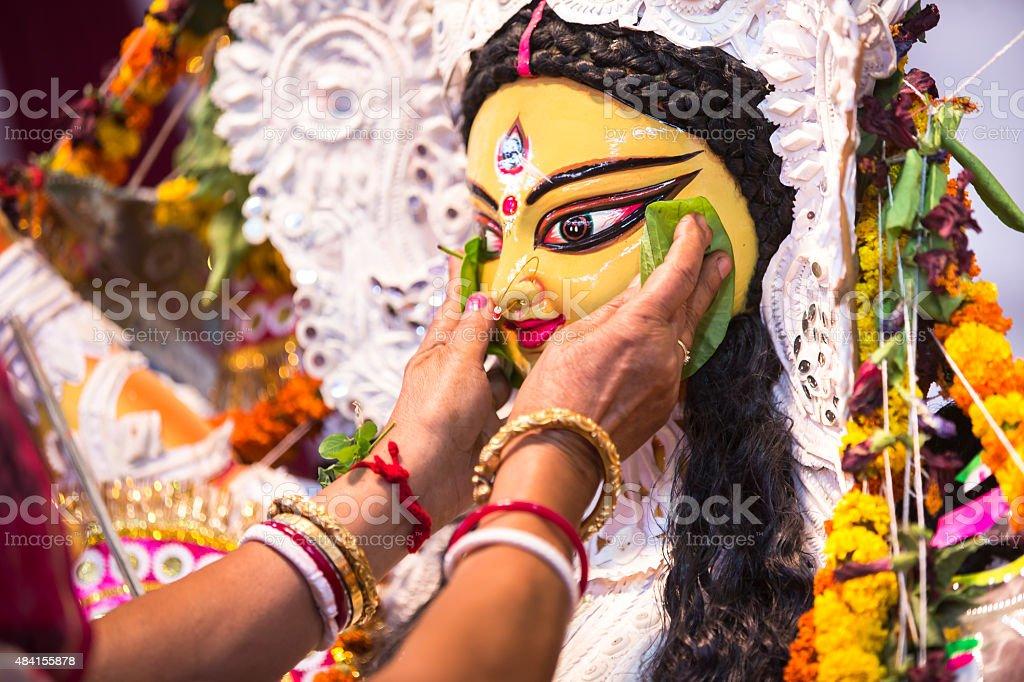 Indian Deity : Goddess Durga during Durga Puja festival stock photo