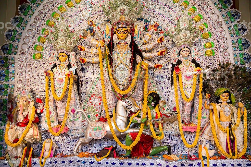 Indian Deity : Goddess during Durga Puja Celebrations. stock photo