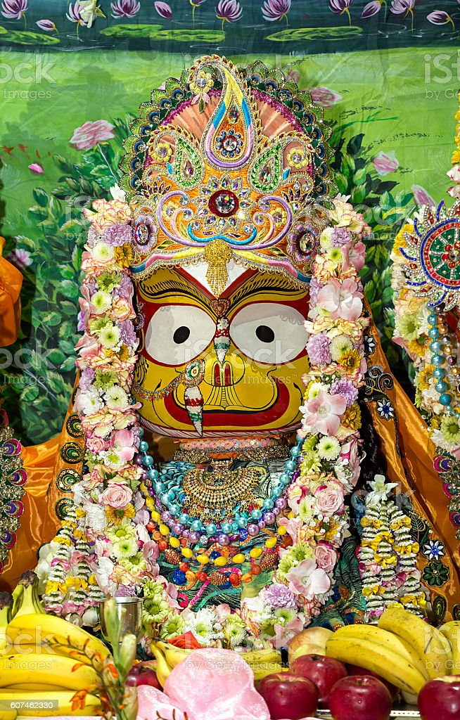 Indian Deity Subhadra closeup. stock photo