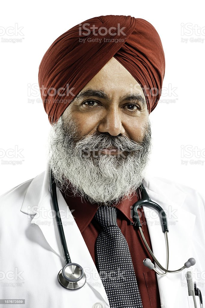 Indian Doctor Wearing Turban - Isolated stock photo