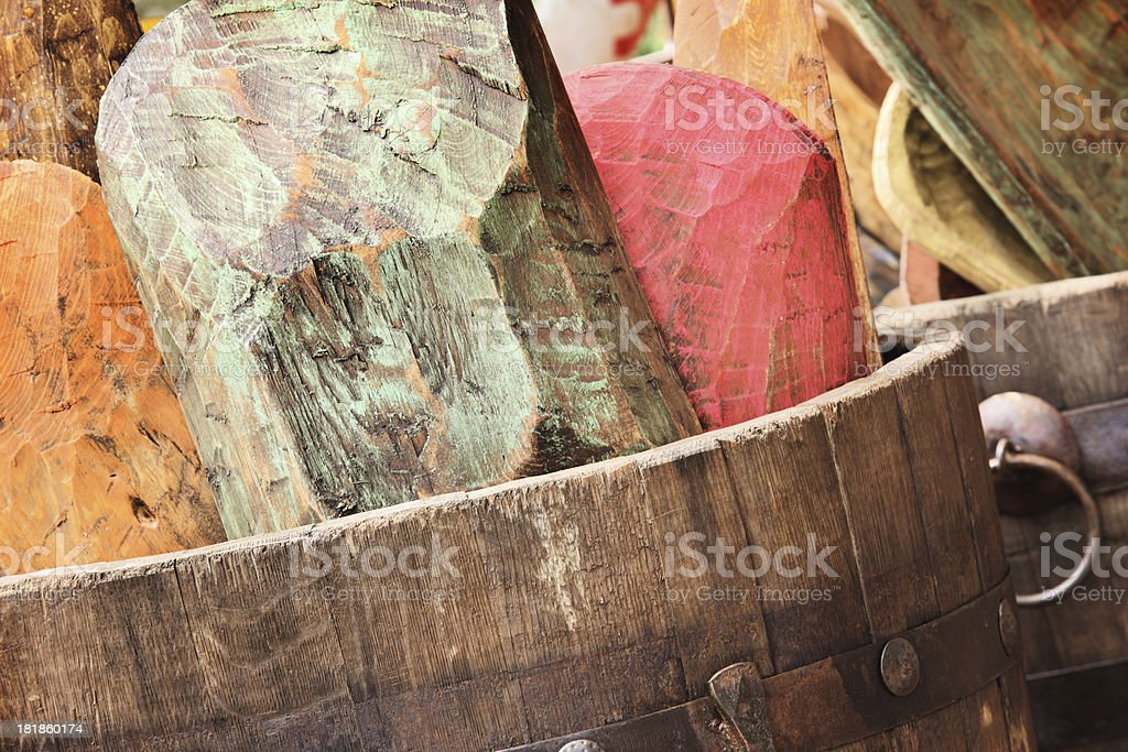 Indian Dough Bowls Wooden Mixing Trencher royalty-free stock photo