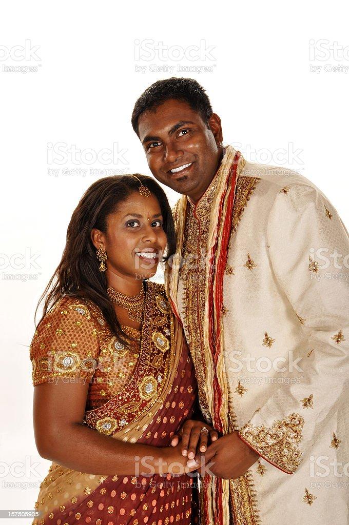 Indian Dressed Wedding Couple Isolated on White stock photo