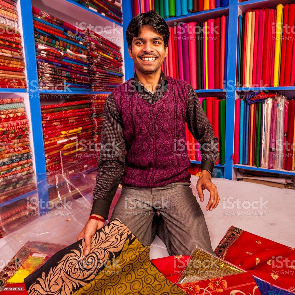 Indian fabric shop, Kathmandu, Nepal stock photo