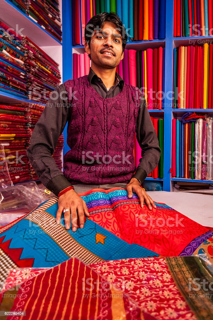 Indian fabric shop stock photo