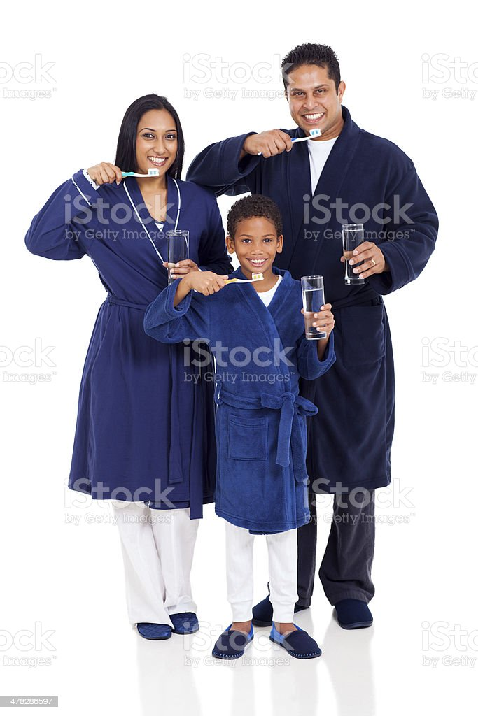 indian family brushing teeth royalty-free stock photo
