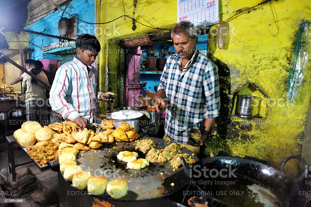 indian family food stall stock photo
