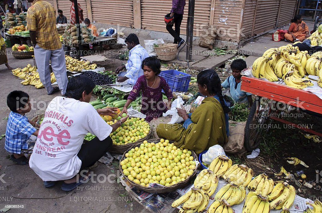 Indian Family selling Fruit royalty-free stock photo