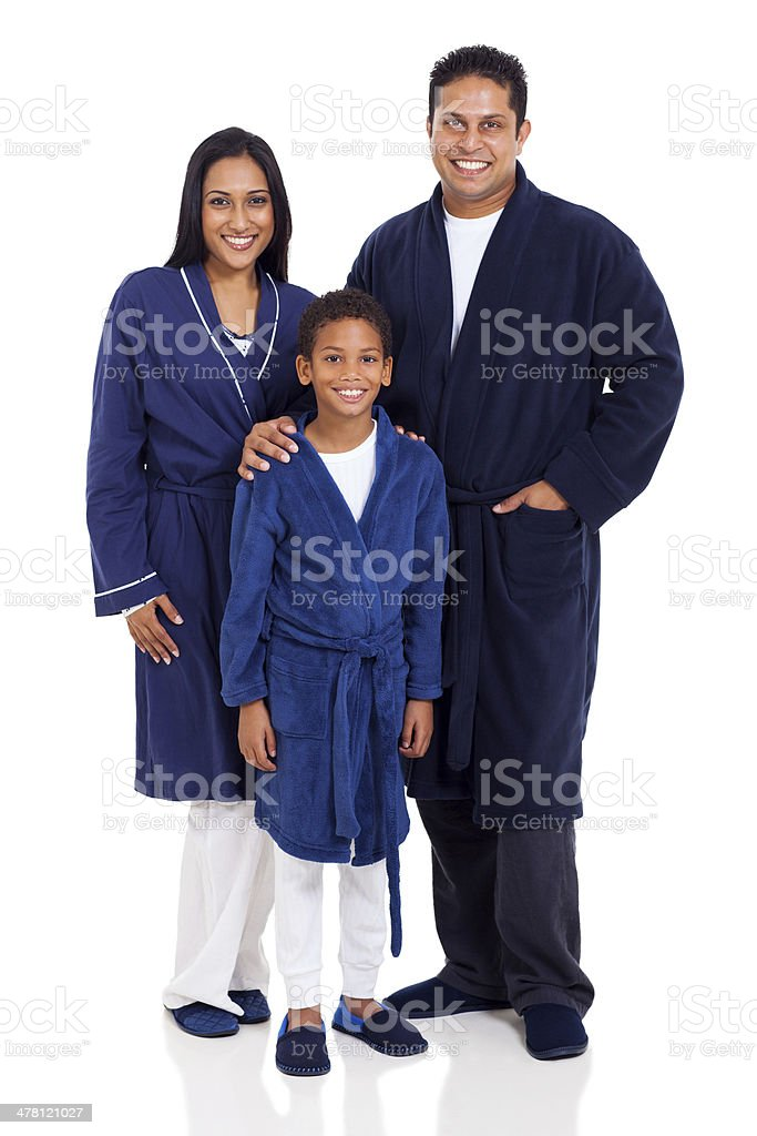 indian family wearing nightclothes royalty-free stock photo