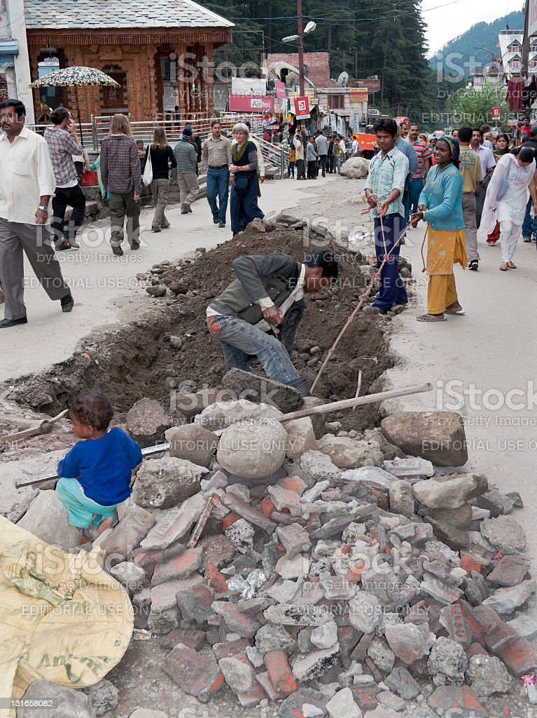 Indian Family Working in Manali stock photo