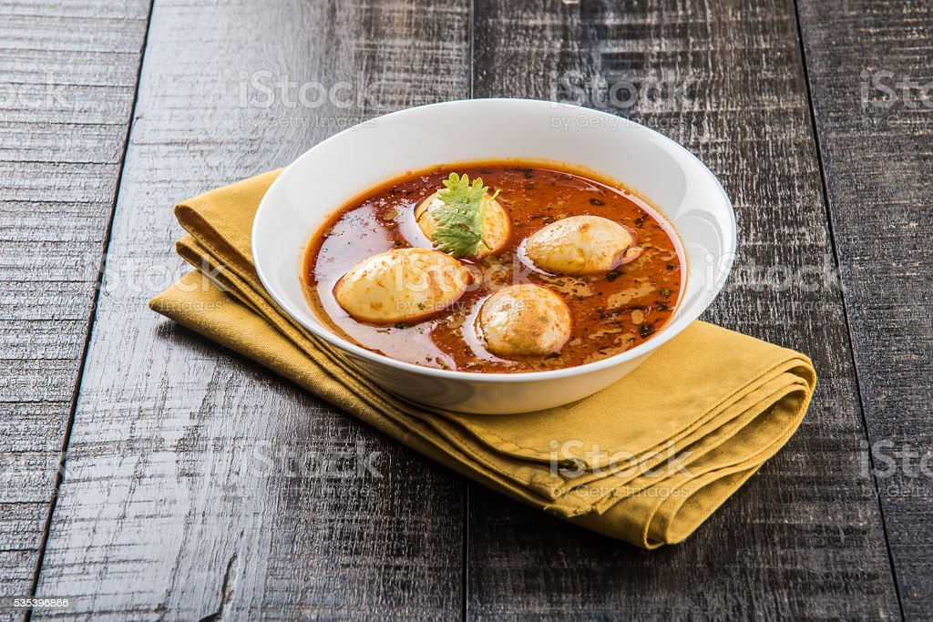 indian famous egg curry or anda curry stock photo