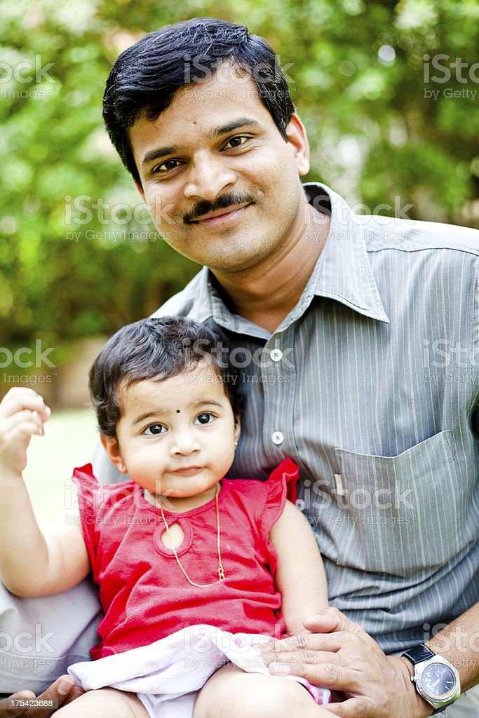 Indian Father with her Little daughter Outdoor Portrait Toddler royalty-free stock photo