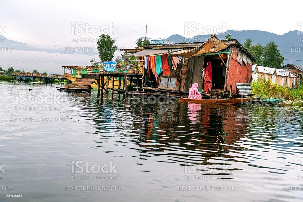 Indian Female Friends Talking in Boats Lake Dal Srinagar stock photo
