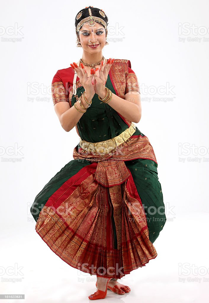 indian female performing dance stock photo