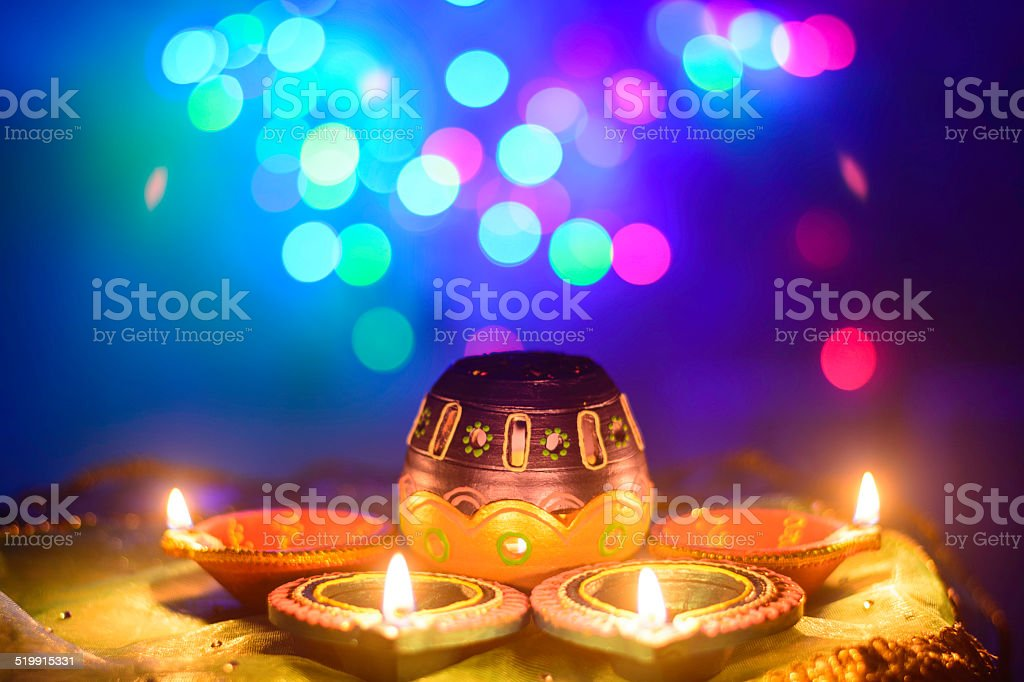 Indian Festival Diwali Oil Lamp Decoration stock photo