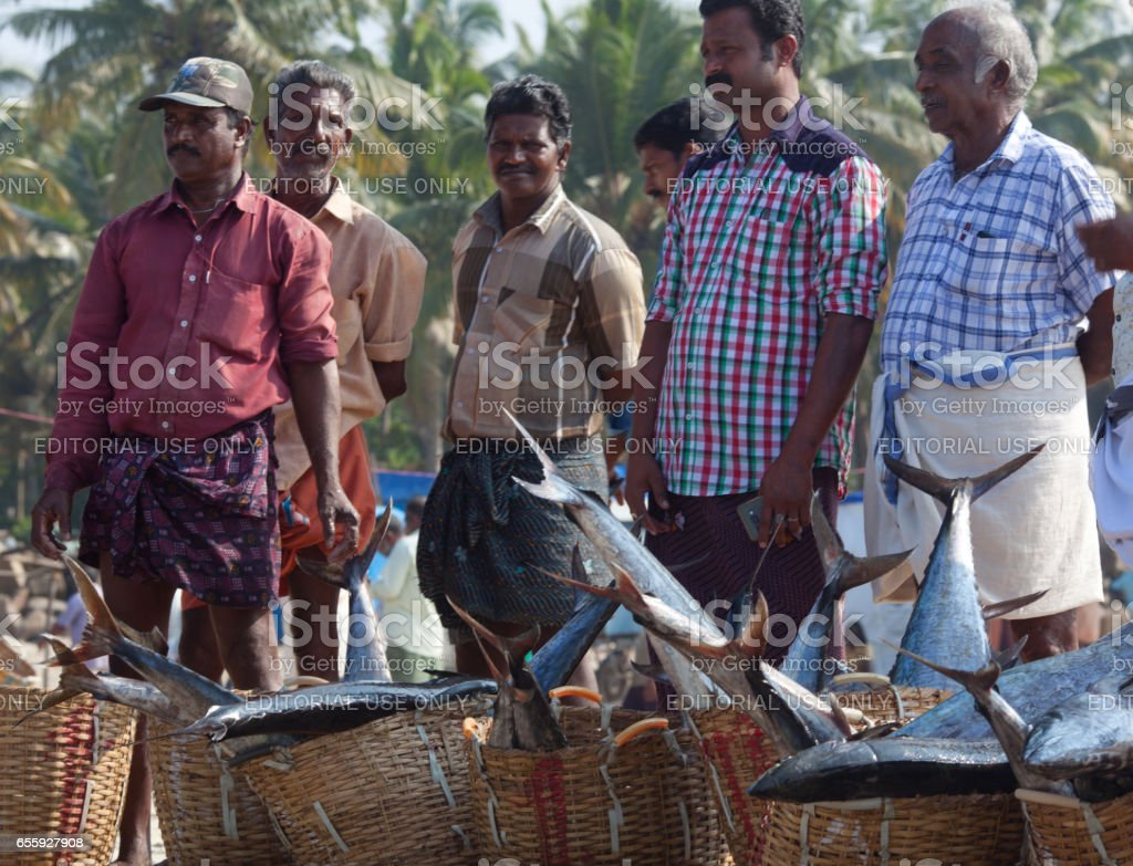 Indian fishermen selling fish at the market. stock photo