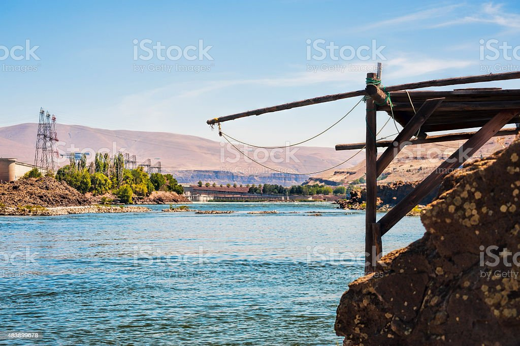 Indian Fishing Platforms on the Columbia River stock photo