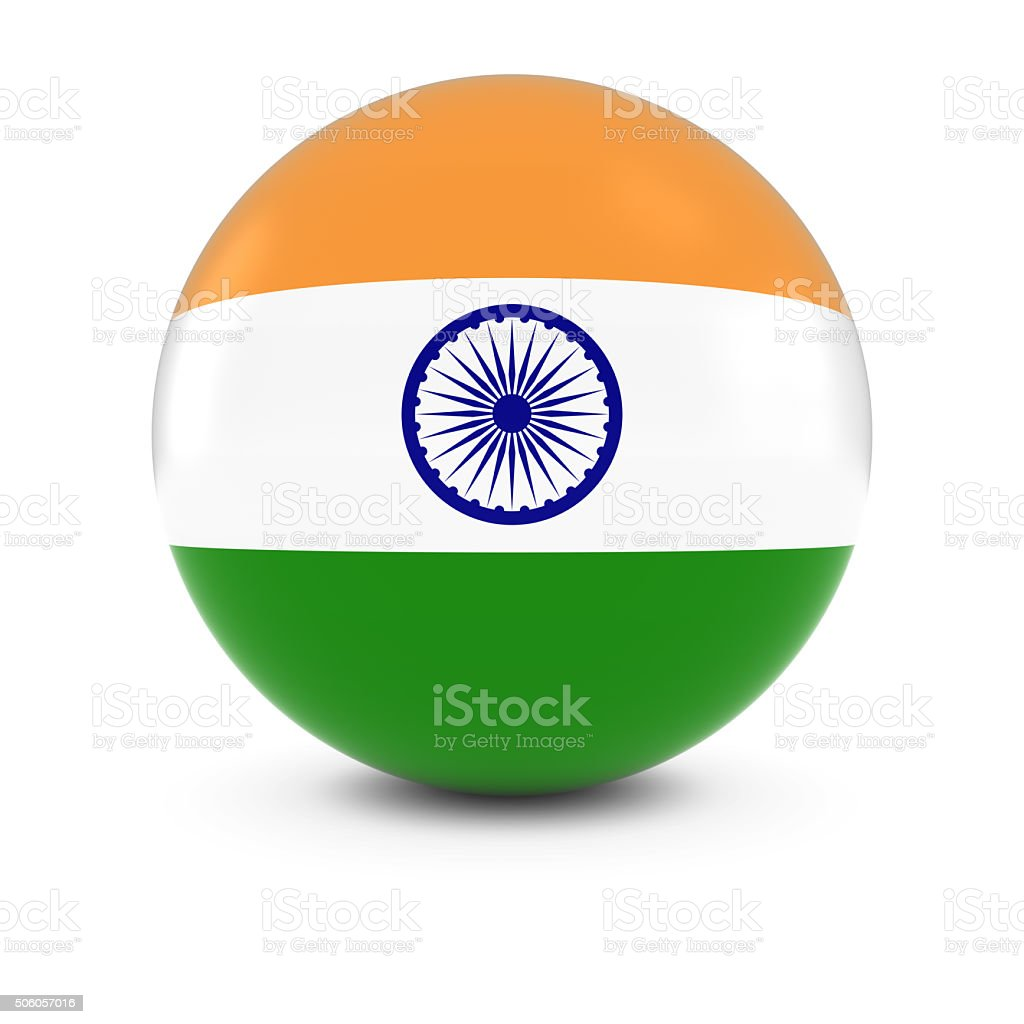 Indian Flag Ball - Flag of India on Isolated Sphere stock photo
