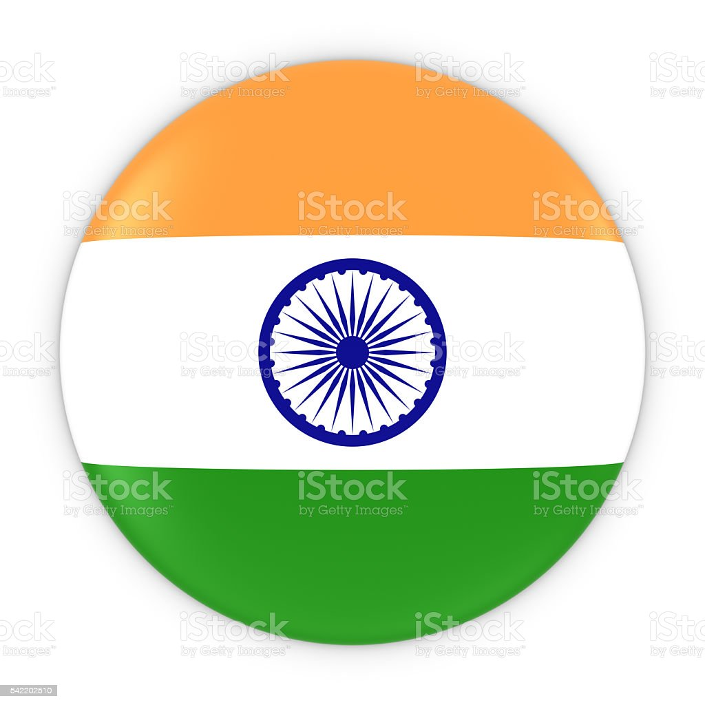 Indian Flag Button - Flag of India Badge 3D Illustration stock photo