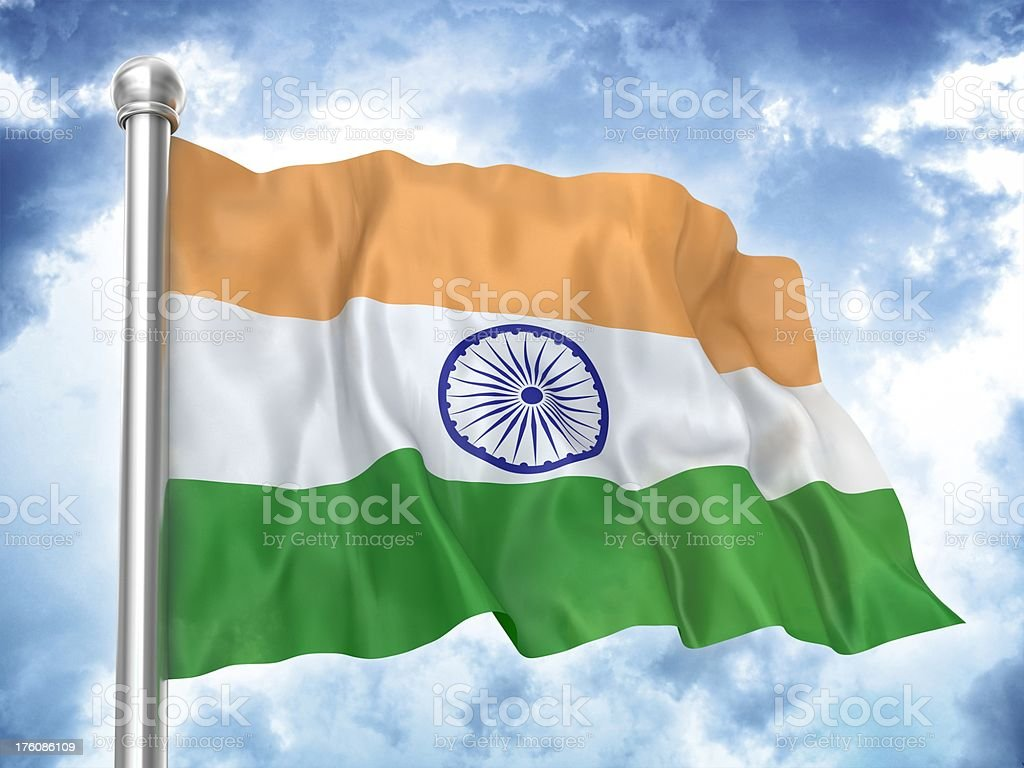 indian flag waving on sky royalty-free stock photo