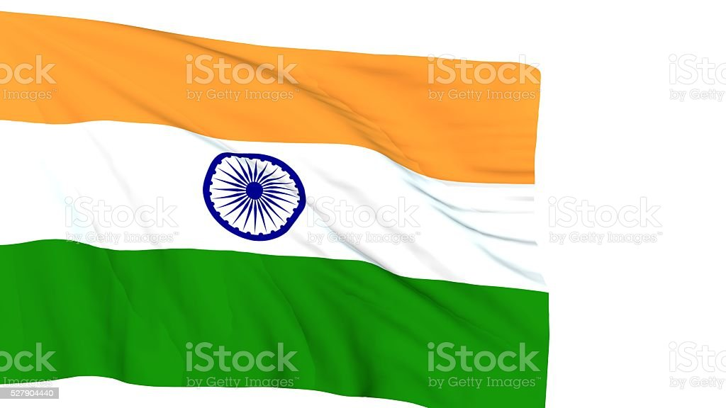 Indian flag waving on wind stock photo
