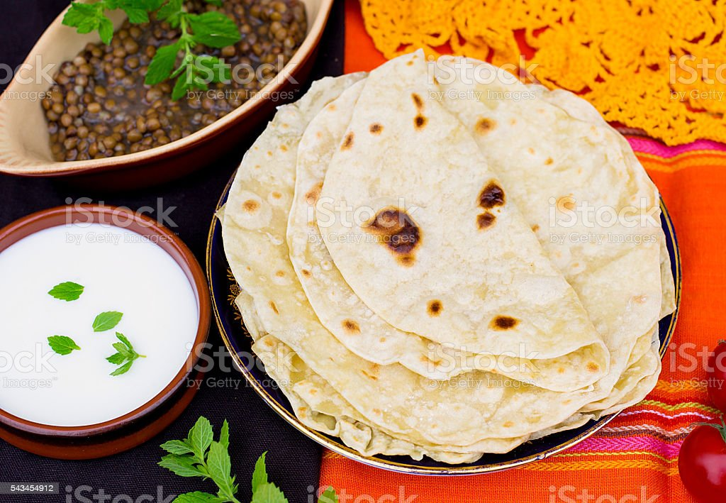 Indian flatbread chapati or roti stock photo