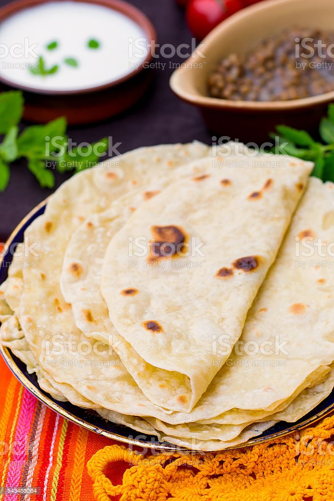 Indian flatbread chapati or roti stock photo