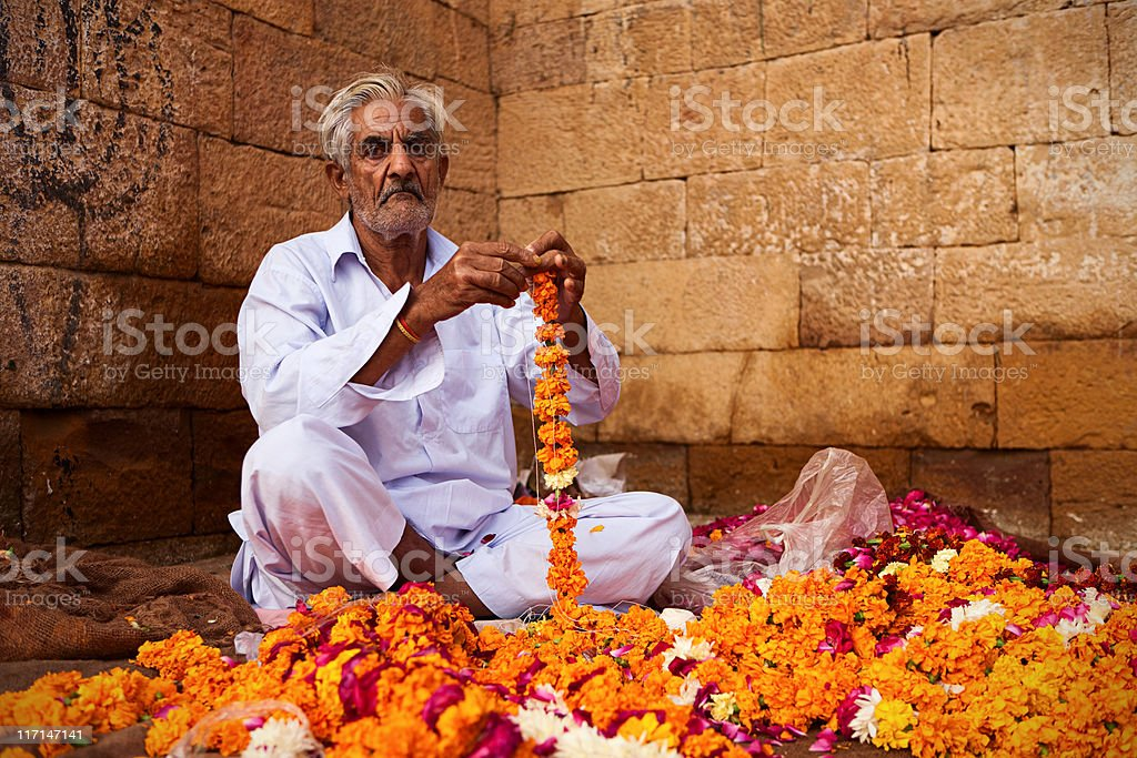 Indian flower seller in Rajasthan royalty-free stock photo
