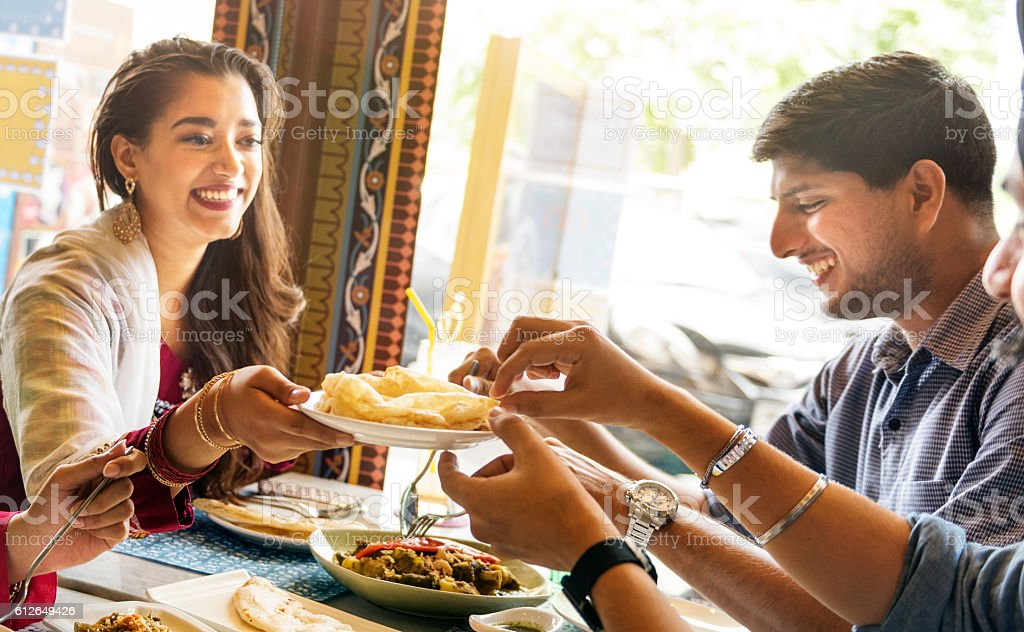 Indian Food Eating Cuisine Togetherness Concept stock photo