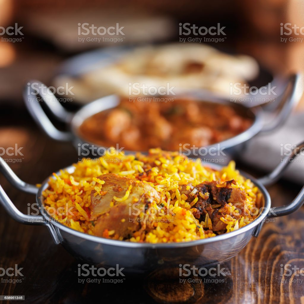 indian food in balti dishes stock photo