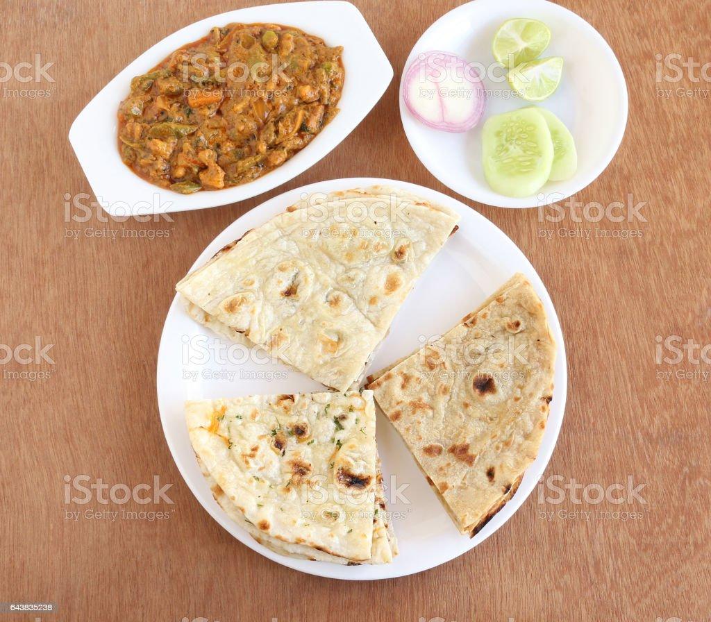 Indian Food Naan, Roti and Kulcha stock photo