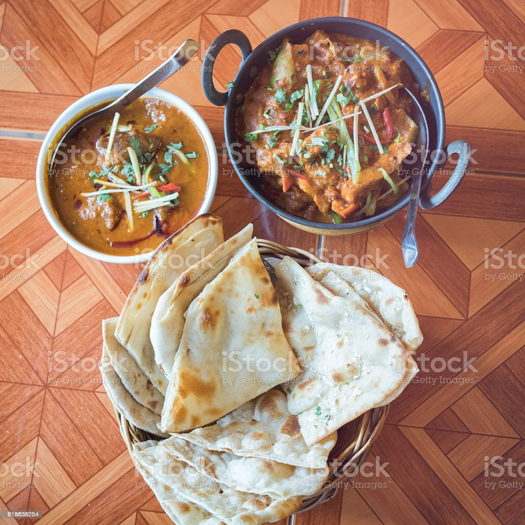 indian food on the table stock photo