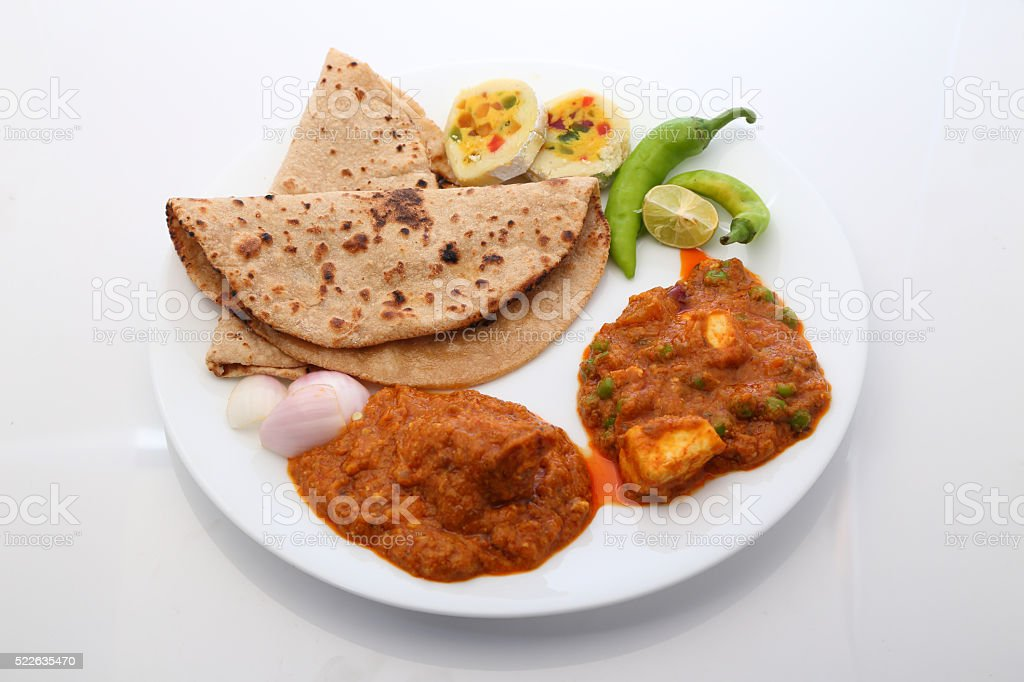 Indian Food or Indian Thali stock photo
