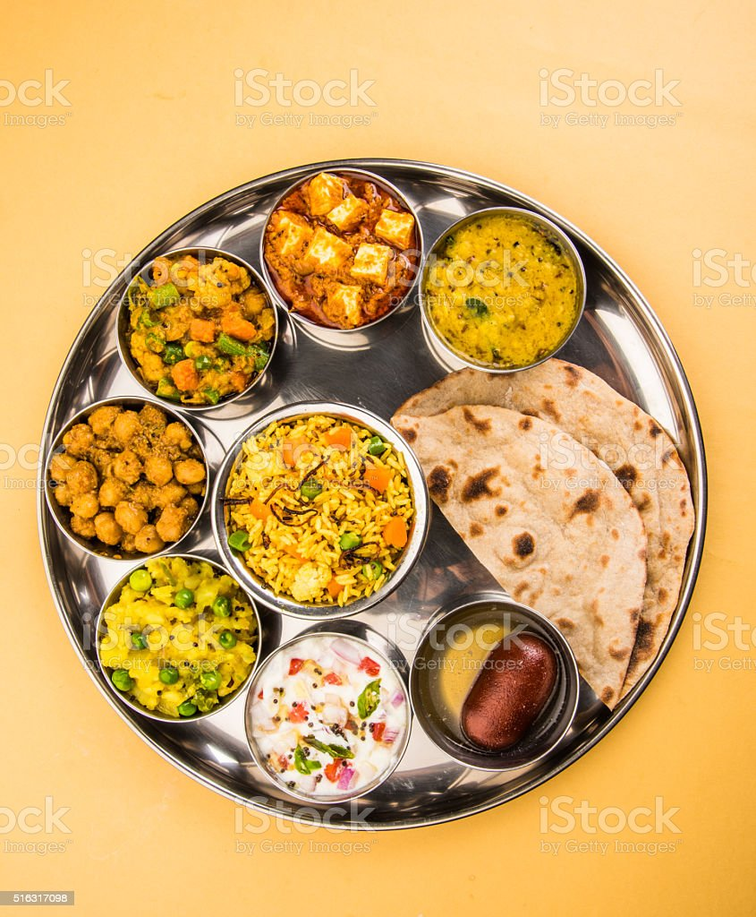 indian food platter or Indian Thali, south indian thali stock photo