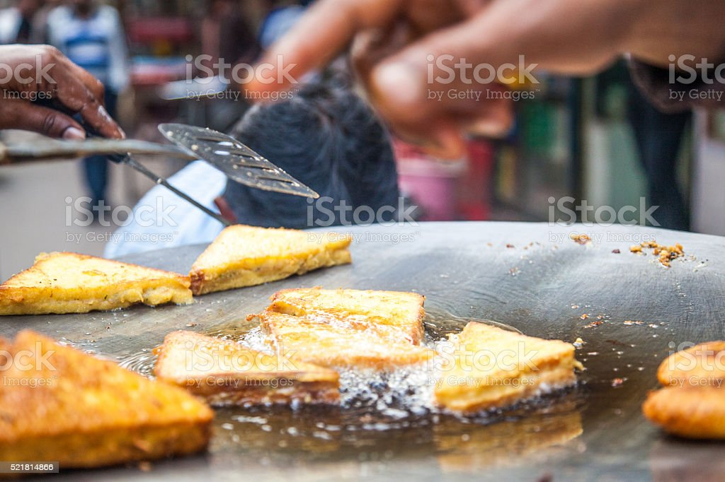 Indian fried sandwiches stock photo