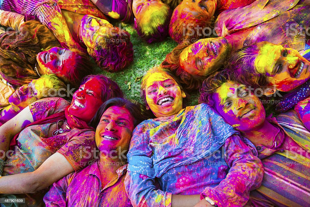 Indian Friends Celabrating Holi stock photo
