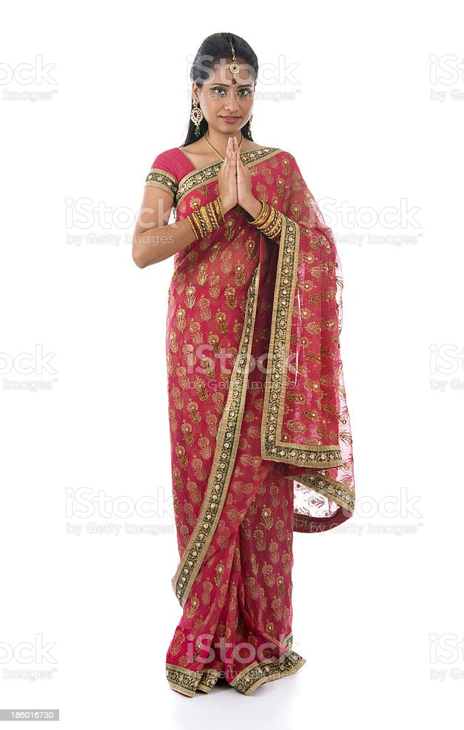 Indian girl in a greeting pose royalty-free stock photo